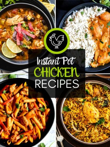 4-image grid of chicken recipes including soups, curry, pasta and rice dish