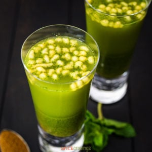 Glass of cumin flavored lemonade topped with boondi