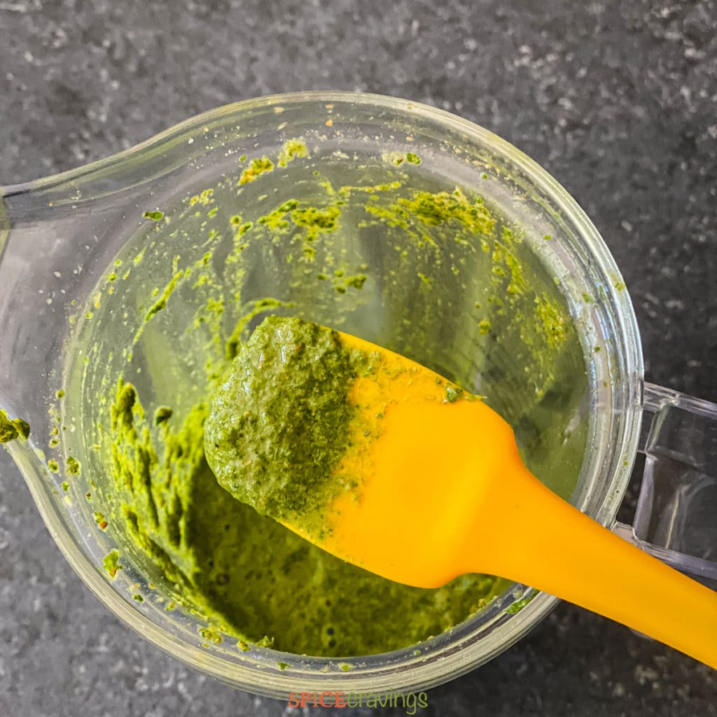 Jaljeera paste made in blender with cilantro, mint, ginger and spices