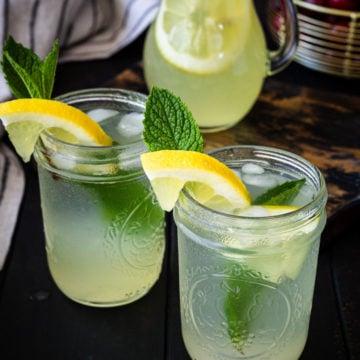 Homemade lemonade in two mason jars