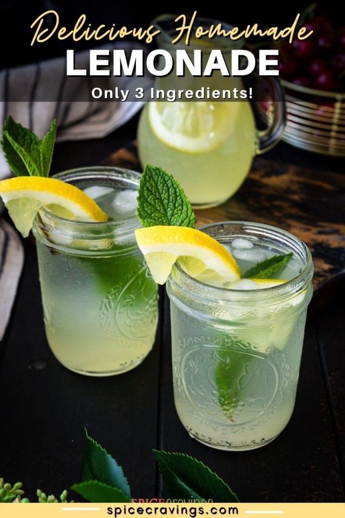 Lemonade in mason jars garnished with lemon slice and mint