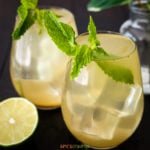 Two glasses of indian lemonade garnished with mint