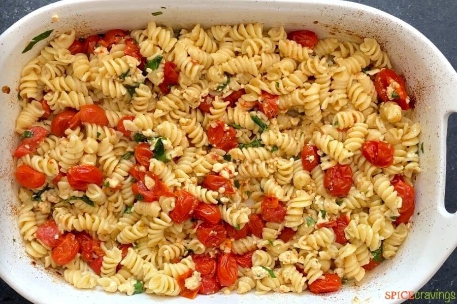 finished baked feta pasta in baking dish
