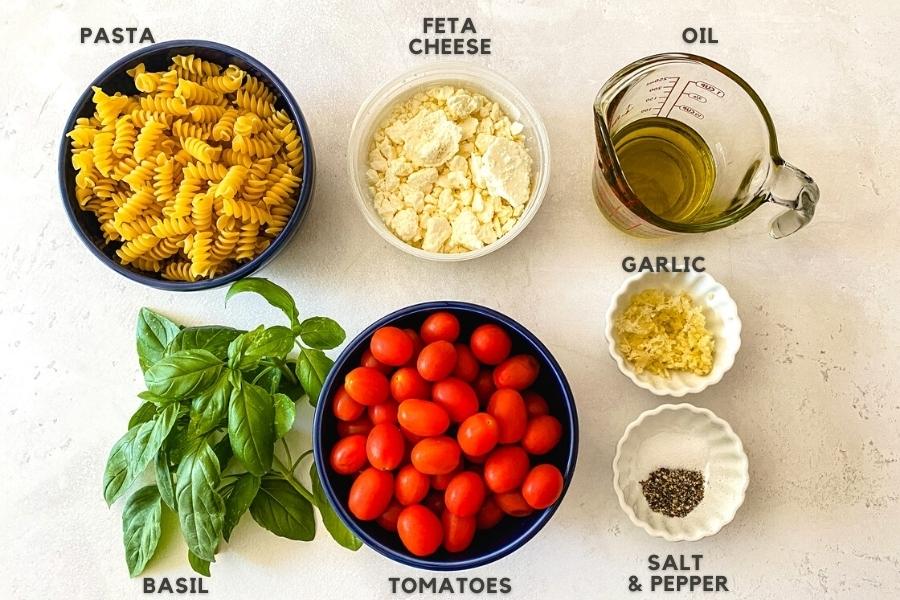 ingredients for baked feta pasta