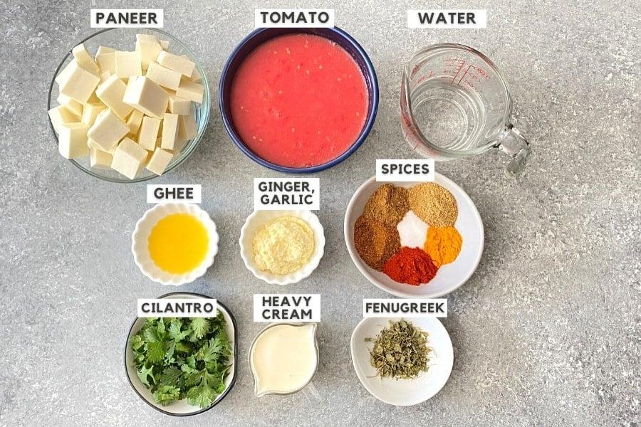 ingredients for paneer butter masala