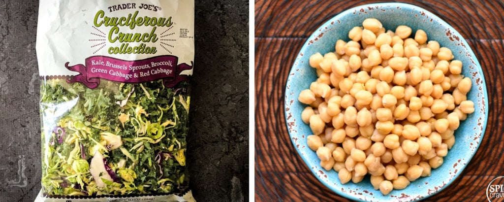 kale slaw on the left, cooked chickpeas on right