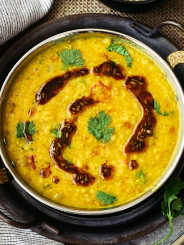 finished Moong dal in bowl garnished with ghee tempering called tadka