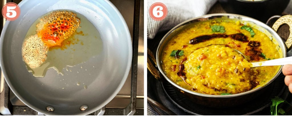collage of final two steps for making a tempering for dal