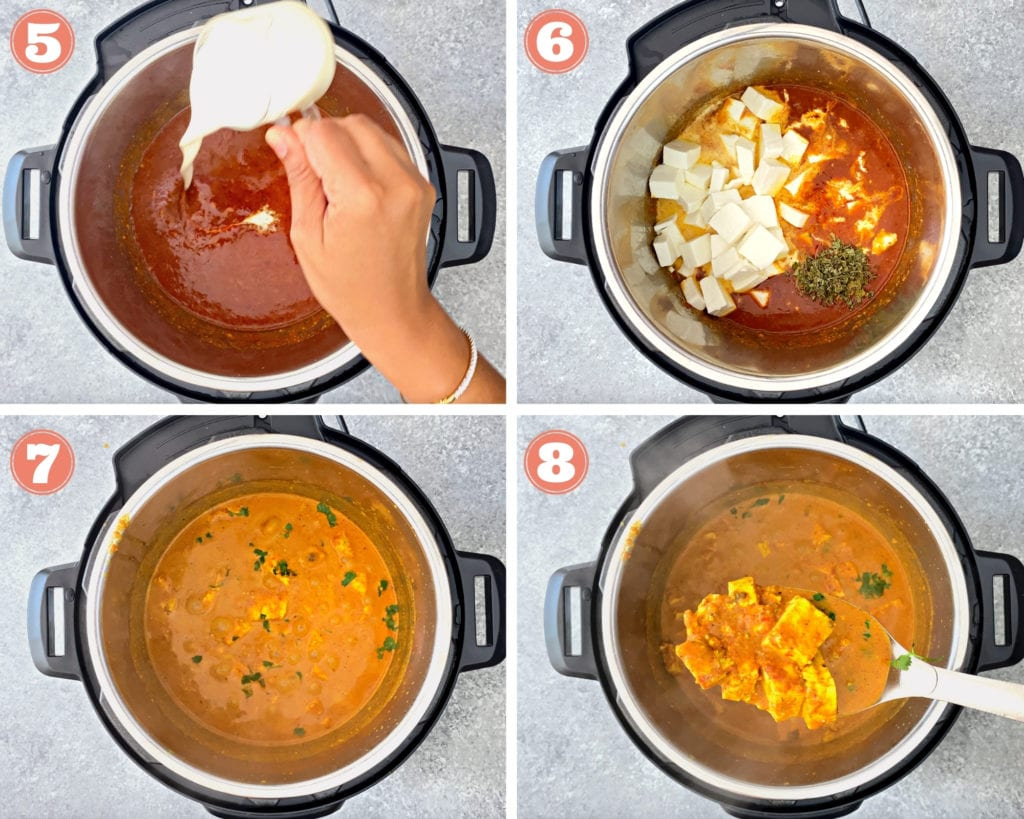 steps 5-8 for making instant pot paneer makhani