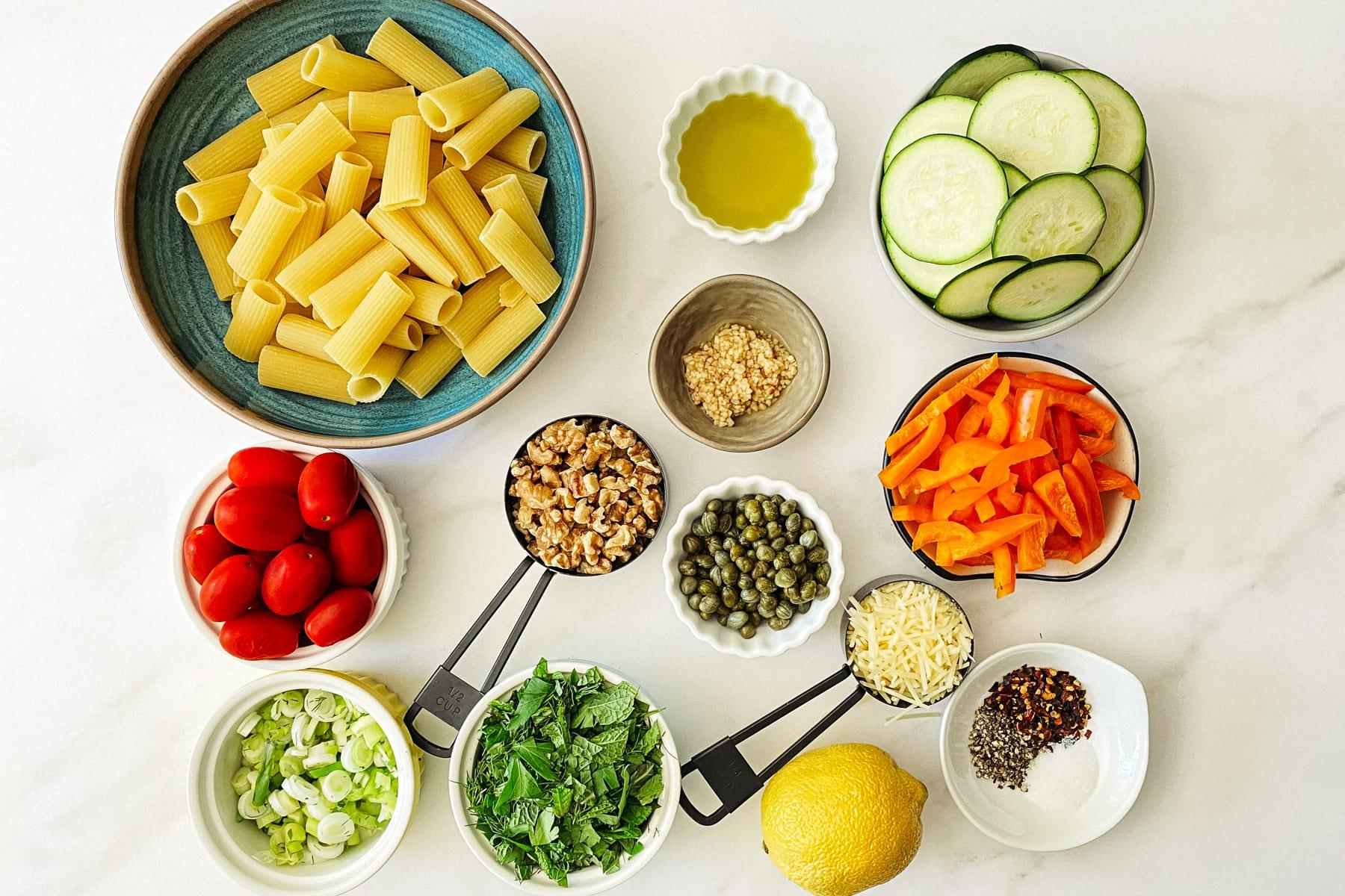 ingredients for vegan pasta salad