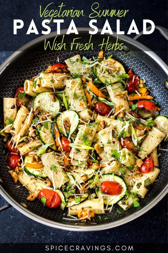 "skillet pan with pasta salad titled ""vegetarian summer pasta salad with fresh herbs"""