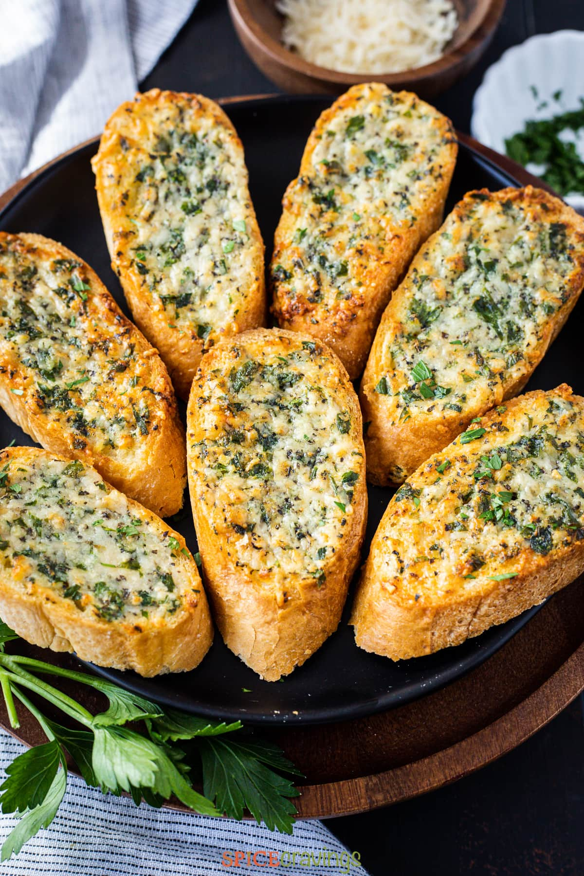 air fried garlic bread garnished with parsley on a plate
