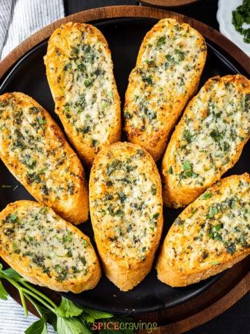 plate of air fried garlic cheese bread