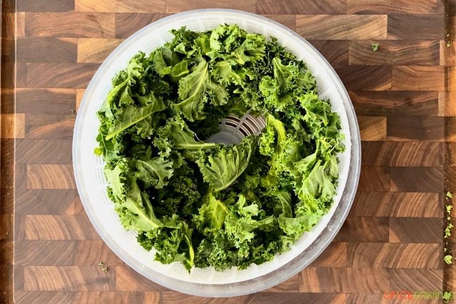 Dried kale leaves in salad spinner