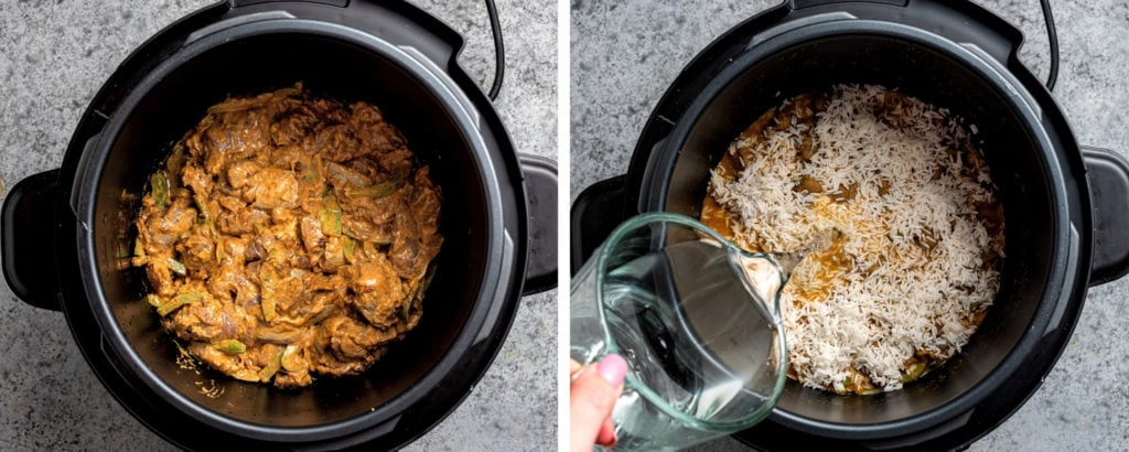 Meat topped with rice in instant pot. Hand pouring water.