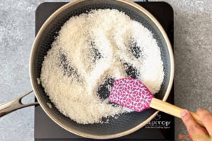 toasting desiccated coconut in skillet