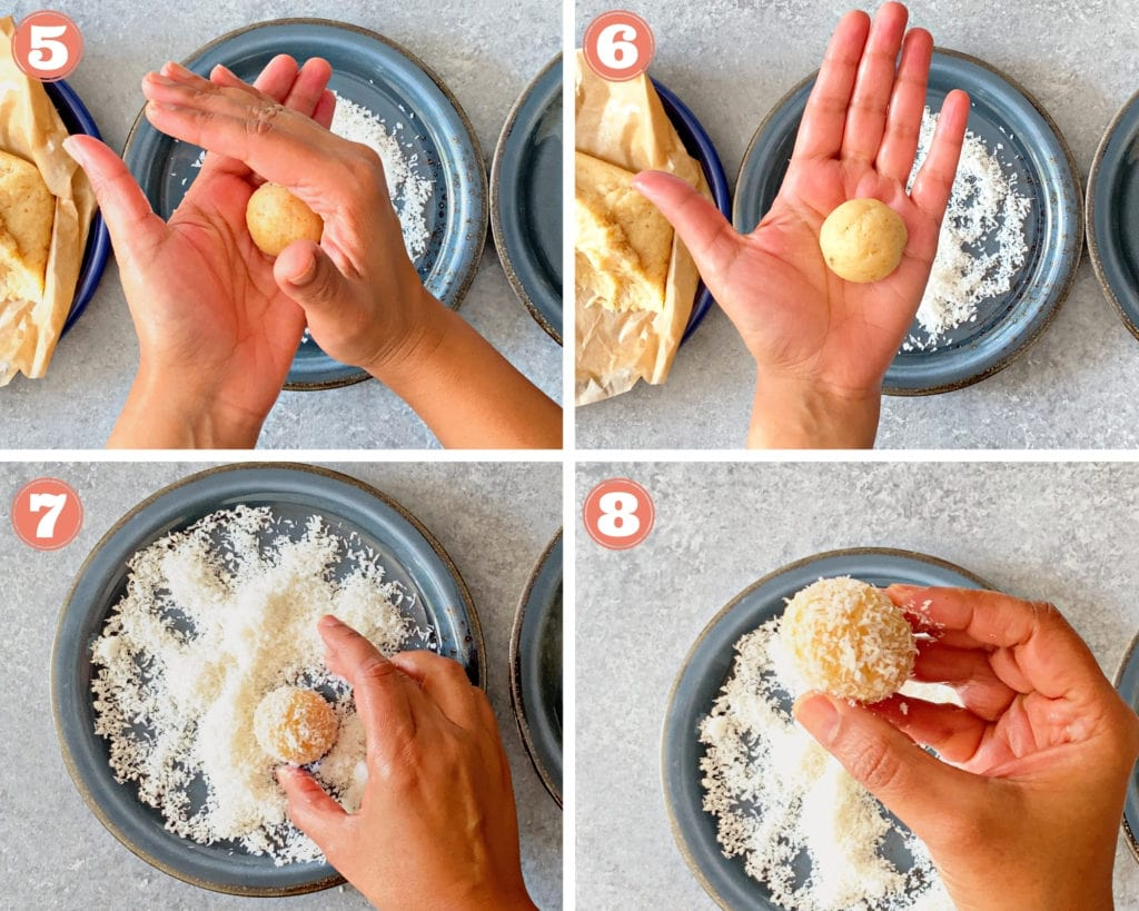 Steps labelled 5-8 showing how to roll coconut ladoo in your palm