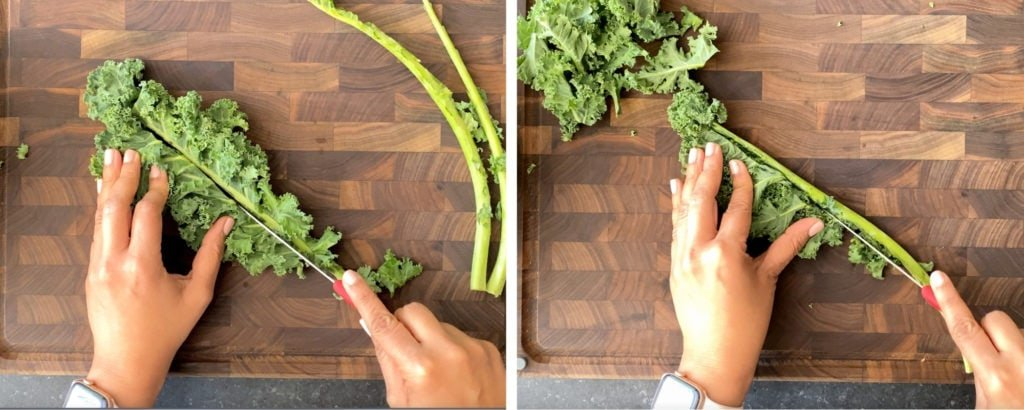 Cutting around kale spine to separate leaves