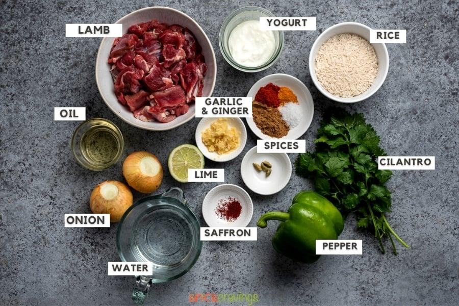 Ingredients for making Indian lamb Biryani