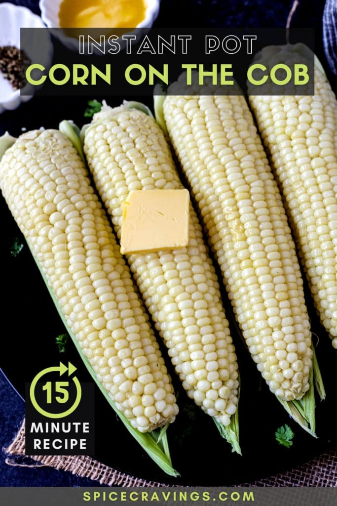 """picture of corn on the cob titled """"Instant Pot Corn on the Cob"""""""