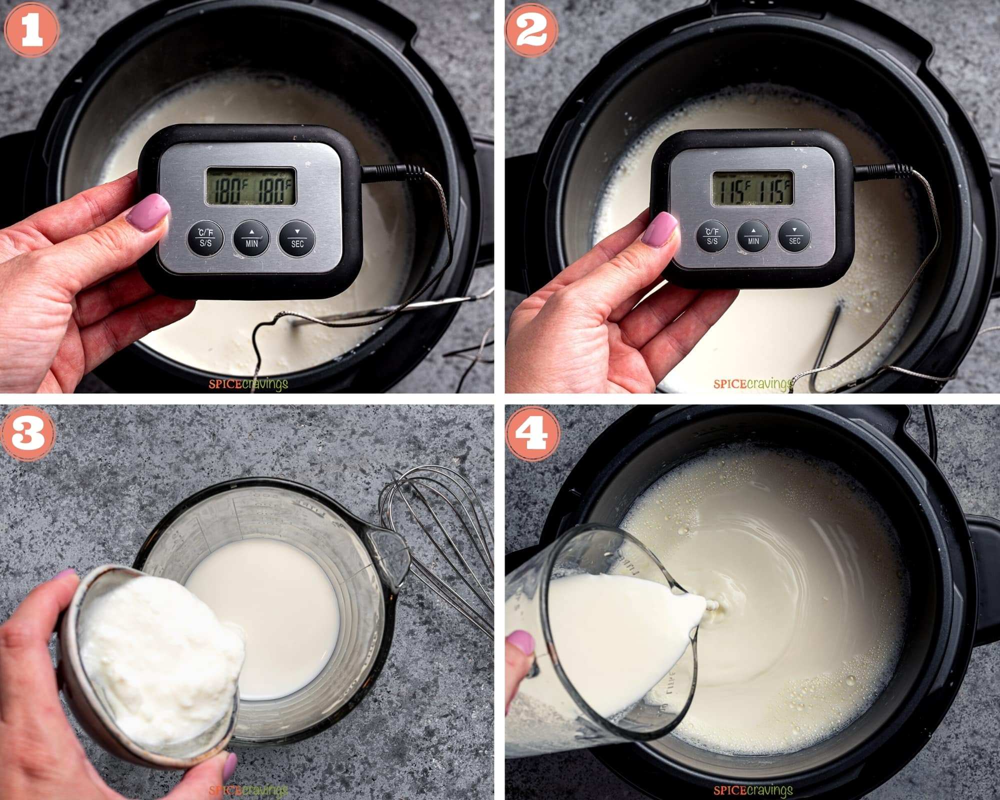 4- steps showing how to warm milk, add starter and make yogurt in an Instant Pot
