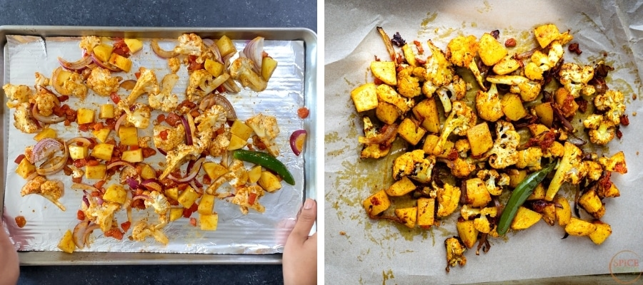 Before and after shots of aloo gobi spread on baking sheet