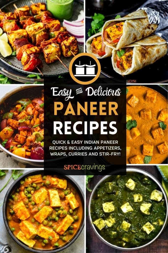 6-image grid showing curries, wraps made with paneer