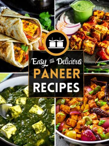 4-image collage with paneer tikka, palak paneer, wrap and stir-fry