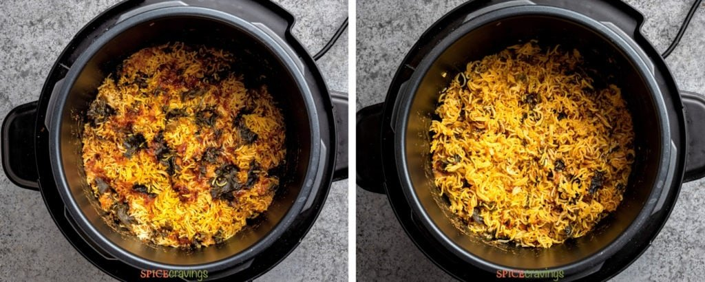 Cooked biryani in instant pot