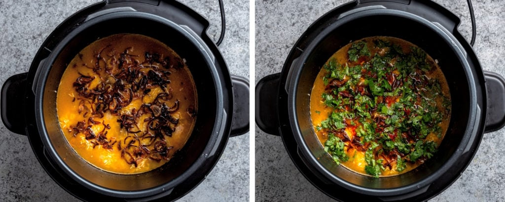 Two images showing rice topped with onion and herbs in instant pot