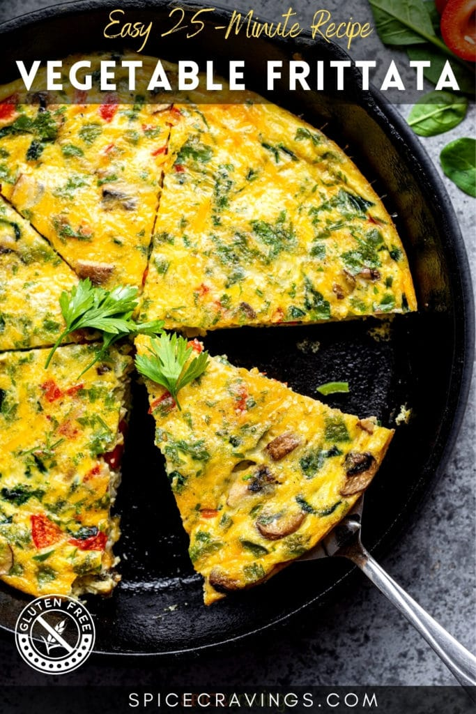 """Skillet with egg frittata with title """"vegetable Frittata"""""""