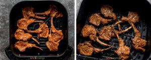 two step grid air frying lamb chops